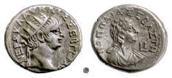 Ancient Coins - NERO wth POPPAEA, Egypt.  BI tetradrachm, 63-64 AD.