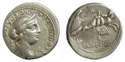 Ancient Coins - Roman Republic, C. Annius T.f. T.n and L. Fabius L.f. Hispaniensis. AR denarius. Spanish mint, 82-81 BC. Anna Perenna / Victory driving Quadriga