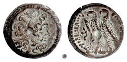 Ancient Coins - EGYPT, Cleopatra III and Ptolemy IX or X,  AE 21, Alexandria, 114-101 BC.  Head of Zeus / Two Eagles