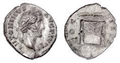 Ancient Coins - Antoninus Pius. AR Denarius, Rome mint, struck 145-147 AD. Winged thunderbolt above throne
