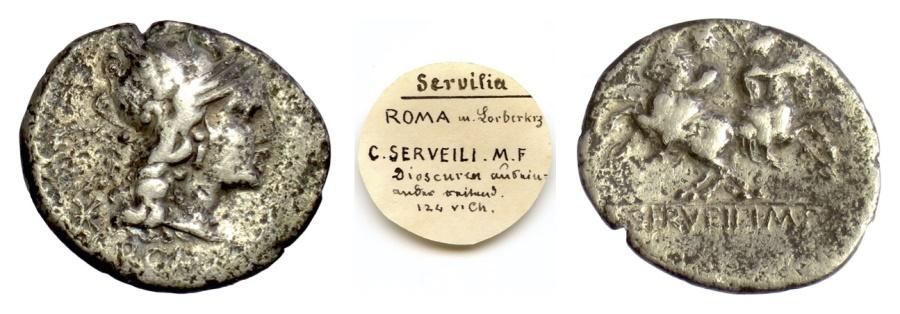 Ancient Coins - Roman Republic, C. Servilius M.f. AR denarius. Rome mint, 136 BC. Roma / Dioscuri on horseback
