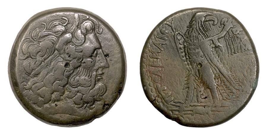 Ancient Coins - EGYPT, Ptolemy III Euergetes. AE tetrobol, Alexandria mint, struck 246-230 BC
