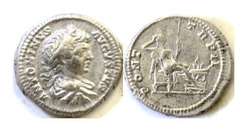 Ancient Coins - Roman, CARACALLA. AR denarius, Rome mint. Struck 199 AD