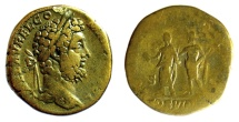 Ancient Coins - Commodus. AE Sestertius. Rome mint. Struck AD 191. Jupiter with Commodus. Scarce