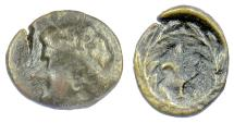 Ancient Coins - THESSALY, Larissa Kremaste. AE chalkous, late 4th-mid 3rd centuries BC. Nymph / Harpa