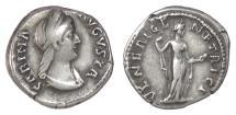 Ancient Coins - Sabina. AR Denarius, Rome mint, circa 134-136 AD. Venus holding an apple