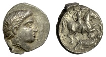 Ancient Coins - PAEONIA, Patraos. AR Tetradrachm, circa 335-315 BC. Apollo / Warrier spearing enemy