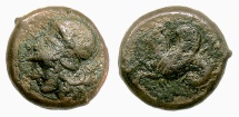 Ancient Coins - SICILY, Syracuse. Dionysios I. AE hemilitron, circa 400-390 BC. Athena / Hippocamp