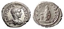 Ancient Coins - GETA, as Caesar. AR denarius, Rome mint, 199-202 AD. Vota Publica
