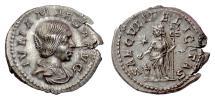 Ancient Coins - JULIA MAESA. AR denarius, Rome mint 220-222 AD. Felicitas
