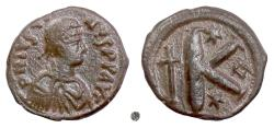 Ancient Coins - BYZANTINE, Justin I. AE Half Follis. Constantinople mint, 518-527