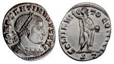 Ancient Coins - Constantine I. AE follis, Ticinum mint, struck 317 AD. Sol