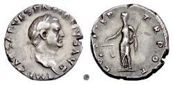Ancient Coins - VESPASIAN.   AR Denarius, Rome mint, 70 AD.  Aequitas