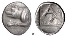 Ancient Coins - ARGOLIS, ARGOS.  AR Triobol, circa 90-40 BC.  Wolf / Eagle under A