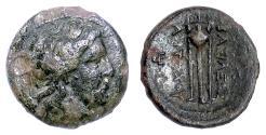 Ancient Coins - SELEUKID, Antiochos I. AE Denom B, Antioch on the Orontes mint, 281-261 BCE. Apollo / Tripod. Scarce