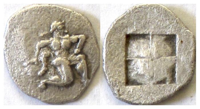 Ancient Coins - ISLANDS off THRACE, Thasos. AR Diobol, circa 500-480 BC