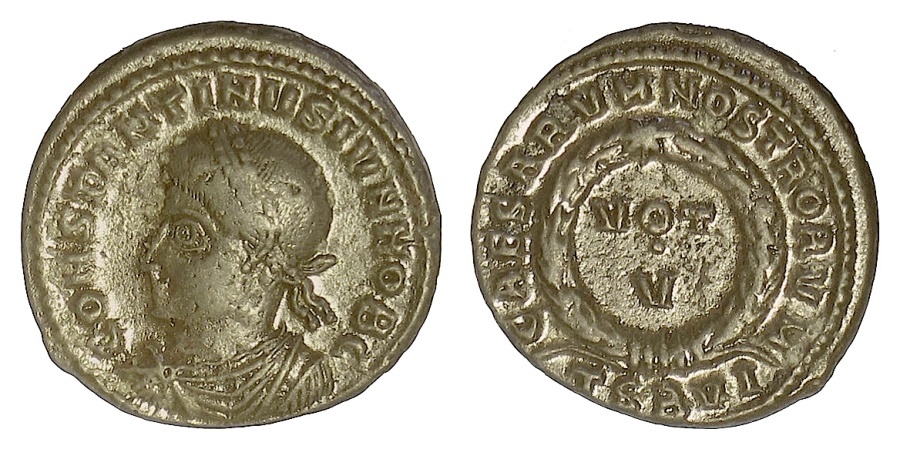 Ancient Coins - Constantine II. AE follis, Thessalonica mint, 320 AD. Rare variety