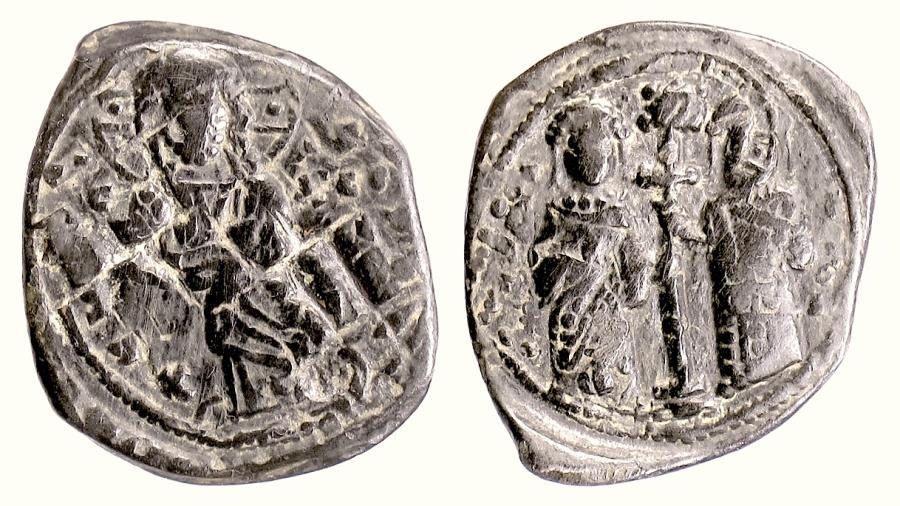Ancient Coins - BYZANTINE, Constantine X, Dukas. AE follis, 1059-1067 AD. Christ / Eudocia & Constantine