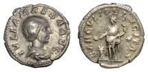Ancient Coins - JULIA MAESA. AR Denarius. Rome mint, struck 220-222 AD. Felicitas