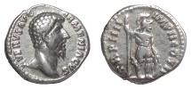 Ancient Coins - Lucius Verus. AR denarius, Rome mint, struck 164 AD. Mars