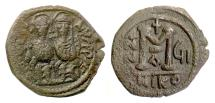 Ancient Coins - BYZANTINE, Justin II, with Sophia. AE follis, Nicomedia mint, 571/2 AD