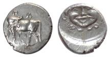 Ancient Coins - MYSIA, Parion. AR Hemidrachm, 4th century BC. Bull / Gorgonion