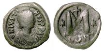 Ancient Coins - BYZANTINE, Justin I. AE Follis, Constantinople mint, 518-527