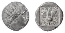 ISLANDS off CARIA, Rhodes. AR Drachm, circa 88 BC. Head of Helios / Rose