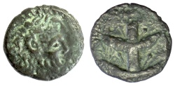 Ancient Coins - KYRENAICA, Koinon. AE 21, circa 250-246 BC. Zeus-Ammon / Silphium plant