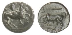 Ancient Coins - Thessaly, Krannon. AE Chalkous, 4th century BC. Horseman / Bull
