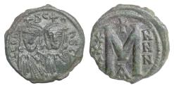 Ancient Coins - BYZANTINE, Leo V, with Constantine. AE follis, Constantinople mint, 813-820