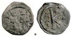 Ancient Coins - BYZANTINE, Justin II, with Sophia. AE Half Follis, Constantinople(?), 573/4 AD