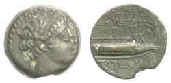 Ancient Coins - SELEUKID, Demetrios I Soter. AE denom B, Tyre mint, 143/2 BC. Galley. Rare