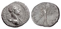 Ancient Coins - TRAJAN. AR Denarius, Rome mint. Struck 116-117 AD. Mars