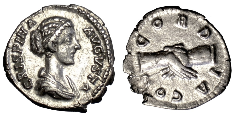 Ancient Coins - CRISPINA. AR denarius. Rome mint, 180-182 AD. Concordia
