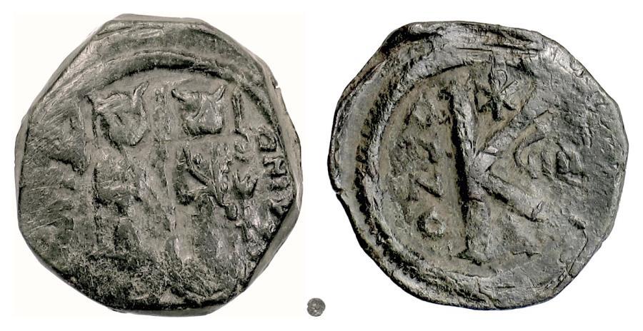 Ancient Coins - BYZANTINE, Justin II, with Sophia. AE Half Follis, Constantinople(?), 573/4 AD