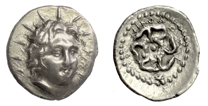 Ancient Coins - Islands off Caria, Rhodos, Rhodes. AR drachm, Nikophon, magistrate, circa 84-30 BC. Helios facing / Rose