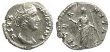 Ancient Coins - Diva Faustina Senior. AR denarius. Rome mint, struck AD 146 or later. Aeternitas