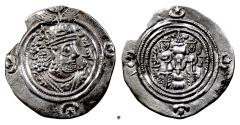 Ancient Coins - SASANIAN, Khusro II. AR drachm, dated RY 8?(599/600 AD)