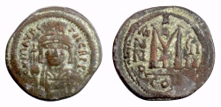 Ancient Coins - BYZANTINE, Maurice Tiberius. AE follis, Constantinople mint, year 9 (600/601 AD)