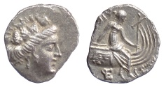 Ancient Coins - EUBOIA, Histiaia. AR Tetrobol, 3rd-2nd c BC. Head of Histiaia / Nymph on Galley