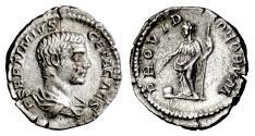 Ancient Coins - GETA. AR denarius, Rome mint. Struck AD 206. Providentia