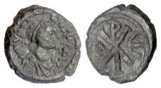 Ancient Coins - BYZANTINE, Justin I. AE pentanummium, Constantinople mint, 512-518 AD