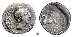 Ancient Coins - Roman Republic, OCTAVIAN.  AR Denarius, military mint, 41 BC