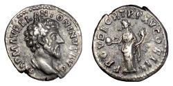 Ancient Coins - MARCUS AURELIUS. AR Denarius, Rome mint, struck 161 AD. Providentia