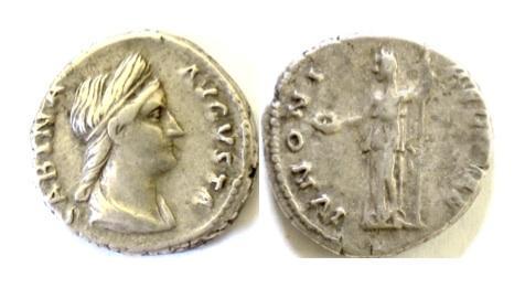 Ancient Coins - Roman, SABINA. AR denarius. Rome mint. Struck AD 134