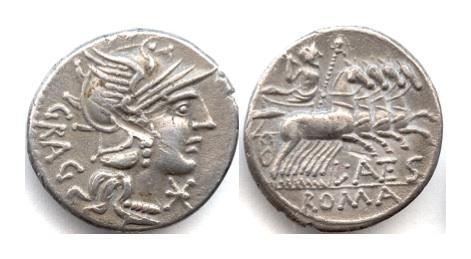 Ancient Coins - Roman Republic, L Antesstius Gragulus. AR denarius, Rome mint. 136 BC