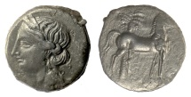 Ancient Coins - CARTHAGE. AE trishekel. Second Punic War, circa 220-215 BC