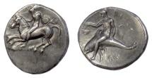 Ancient Coins - CALABRIA, Tarentum. AR Nomos, circa 280 BC. Youth on horse / Palanthos riding dolphin