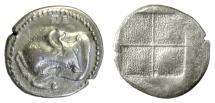 Ancient Coins - MACEDON, Akanthos.  AR tetrobol, circa 470-390 BC.  Forepart of bull / incuse